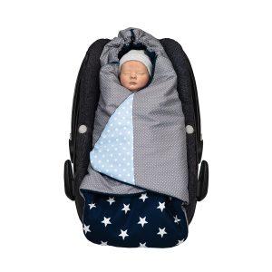 ULLENBOOM ® Einschlagdecke Babyschale Blau Hellblau Grau